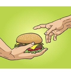 Hand gives a burger to other hand pop art vector