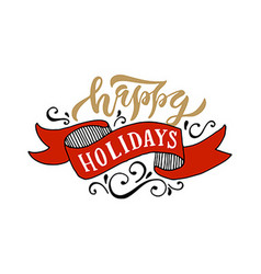 Hand sketched Happy Holidays logotype badgeicon vector