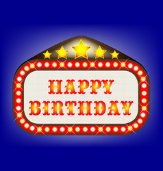 Happy birthday movie theatre marquee vector