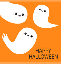 happy halloween three flying ghost spirit set vector image