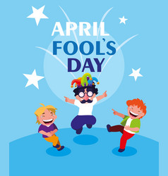 happy little boys april fools day card vector image