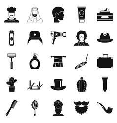 Hats icons set simple style vector