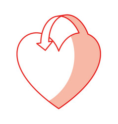 heart love with arrow vector image