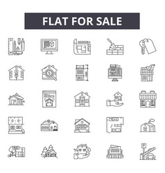 house for sale line icons for web and mobile vector image