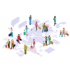 international tourism on world map isometric vector image