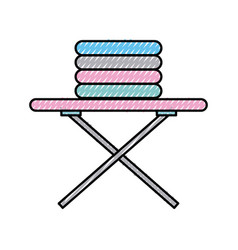 Ironing board with pile of clothes vector