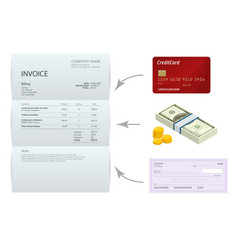 Isometric single invoice bank check cash and vector