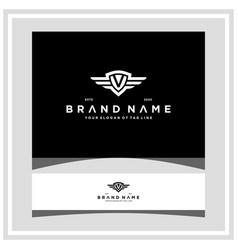 Letter v shield wing logo design concept vector
