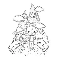 little tourist kids couple in landscape scene vector image