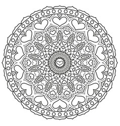 Mandala with hearts for coloring book page vector
