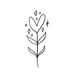 minimalist plant single continuous art leaf vector image