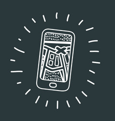 Mobile navigation route icon vector