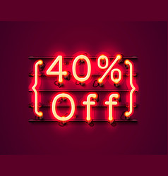 neon frame 40 off text banner night sign board vector image
