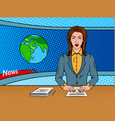 Newsreader reads news on tv pop art vector