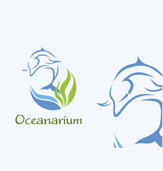 Oceanarium logo - dolphin in blue vector