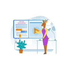 Online education gazelle cartoon character coacher vector