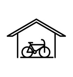 Parking bike inside garage transport line style vector