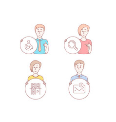 Parking place research and share icons new mail vector