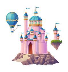 pink magic castle princess palace and air balloon vector image