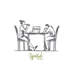 pizza cafe couple table dating concept vector image