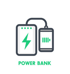 power bank charging smartphone icon vector image
