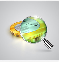 realistic money coin with a magnifier vector image