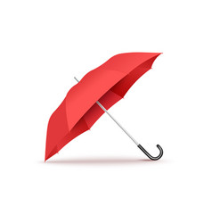 realistic red open umbrella with curved black vector image