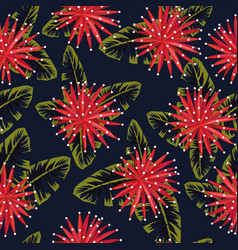 red flowers on night jungle seamless vector image