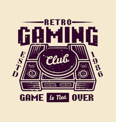 retro gaming club emblem with game console vector image