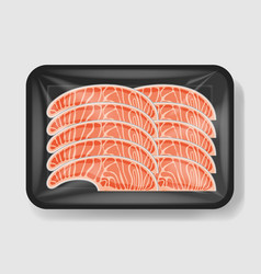 salmon in plastic tray container with cellophane vector image
