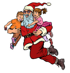 santa claus with children christmas and new year vector image