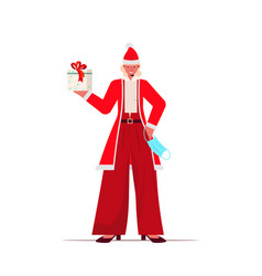 santa woman with mask holding gift box new year vector image