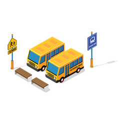 school bus on street parking lot vector image