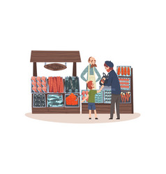 seafood market with freshness fish on counter vector image