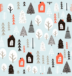Seamless pattern with winter houses wood trees vector
