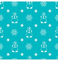Seamless winter pattern with snowman and vector