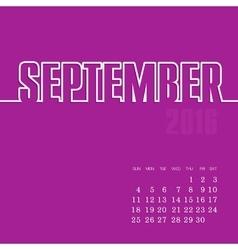 September 2016 year calendar vector