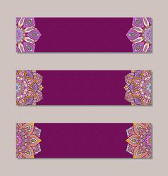 Set 3 banners with traditional indian ornaments vector