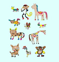 Set animal naive vector image