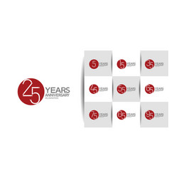 Set anniversary logo style with red circle vector