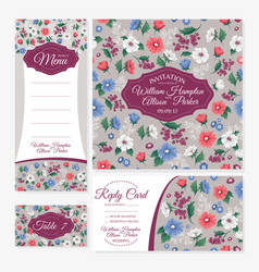 set floral wedding cards vector image