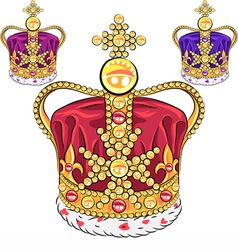 Set gold crown vector