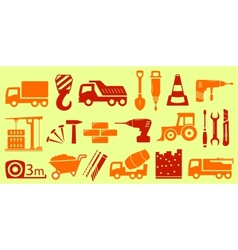 set isolated object for construction industry vector image