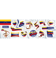 set national flag venezuela in vector image