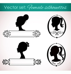 Set of female silhouettes in retro style vector image