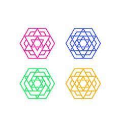 set of islamic hexagon window frame art vector image