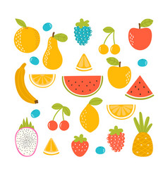 set organic tropical fruit fresh vegan vector image
