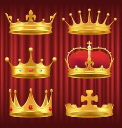 set royal crowns tiaras and diadems vector image