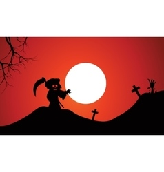 Silhouette of warlock halloween in tomb vector image