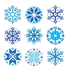Snowflakes winter blue icons set vector image